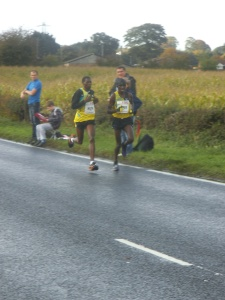 The leaders at mile 18