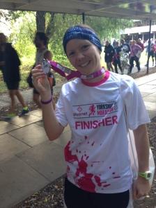Vikki shows off her bling from her first marathon